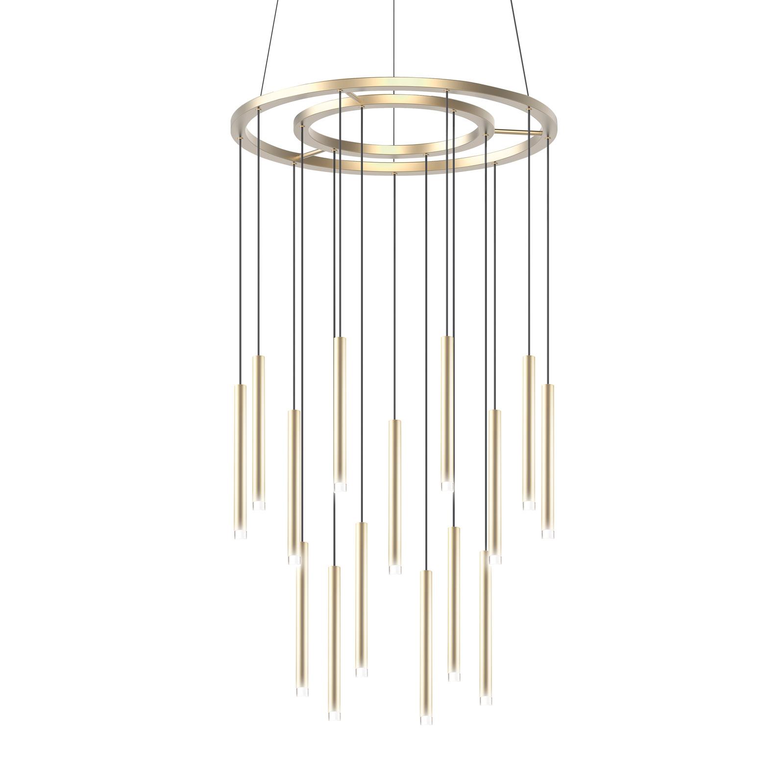 Grok Candle lampa wisząca LED, 18-pkt. złoty