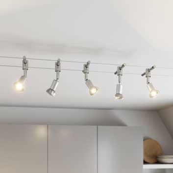 Système sur câble Rope à 5 lampes avec spots LED