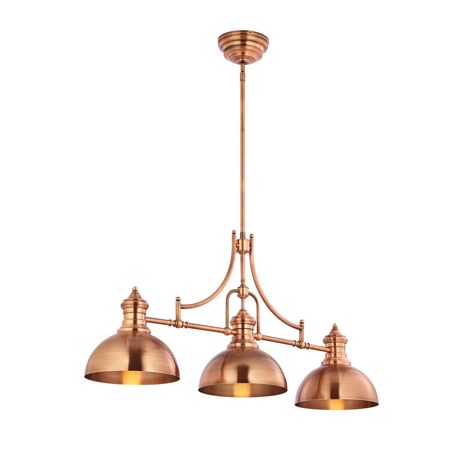 Suspension Times à 3 lampes, laiton ancien