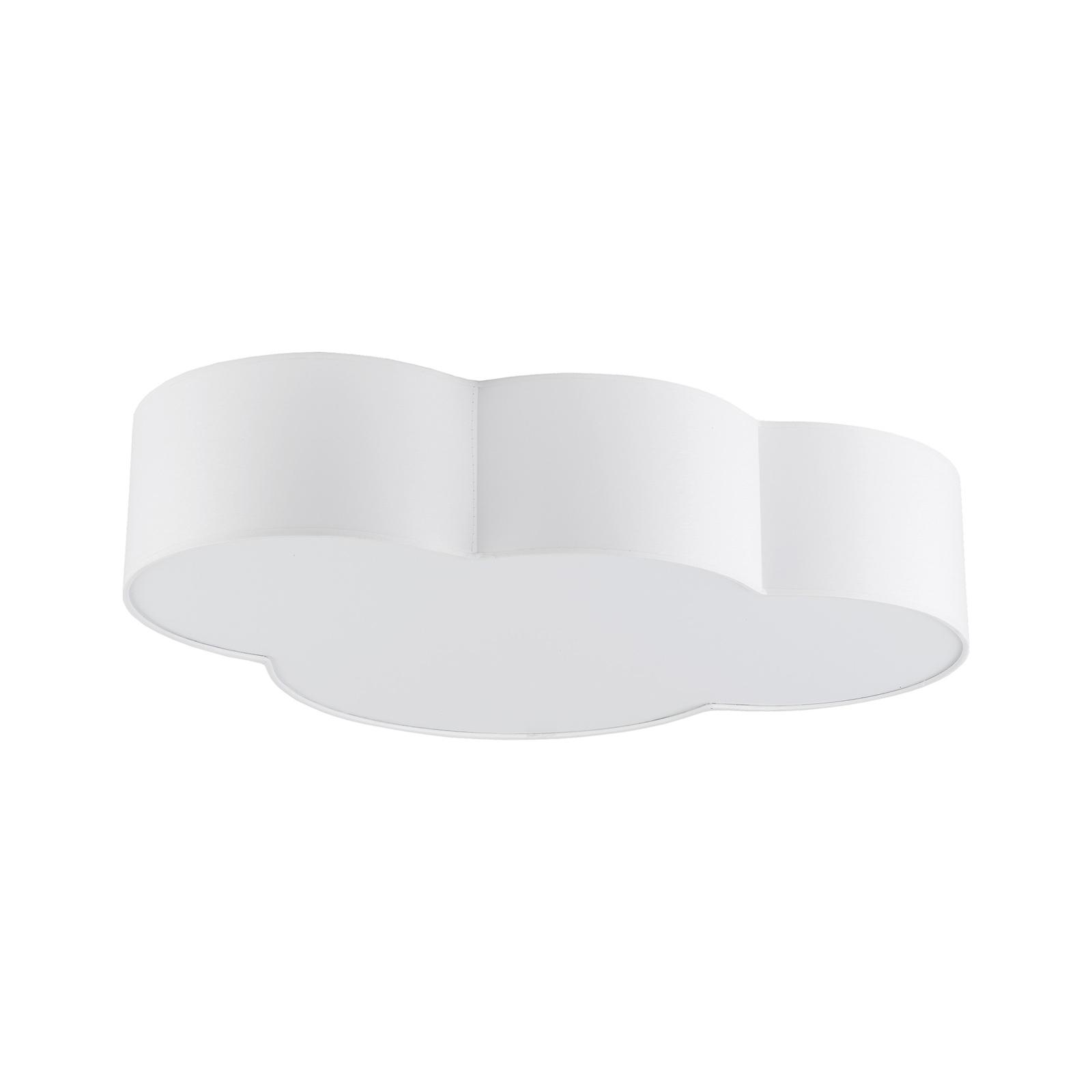 Taklampe Cloud av tekstil, lengde 62 cm, hvit
