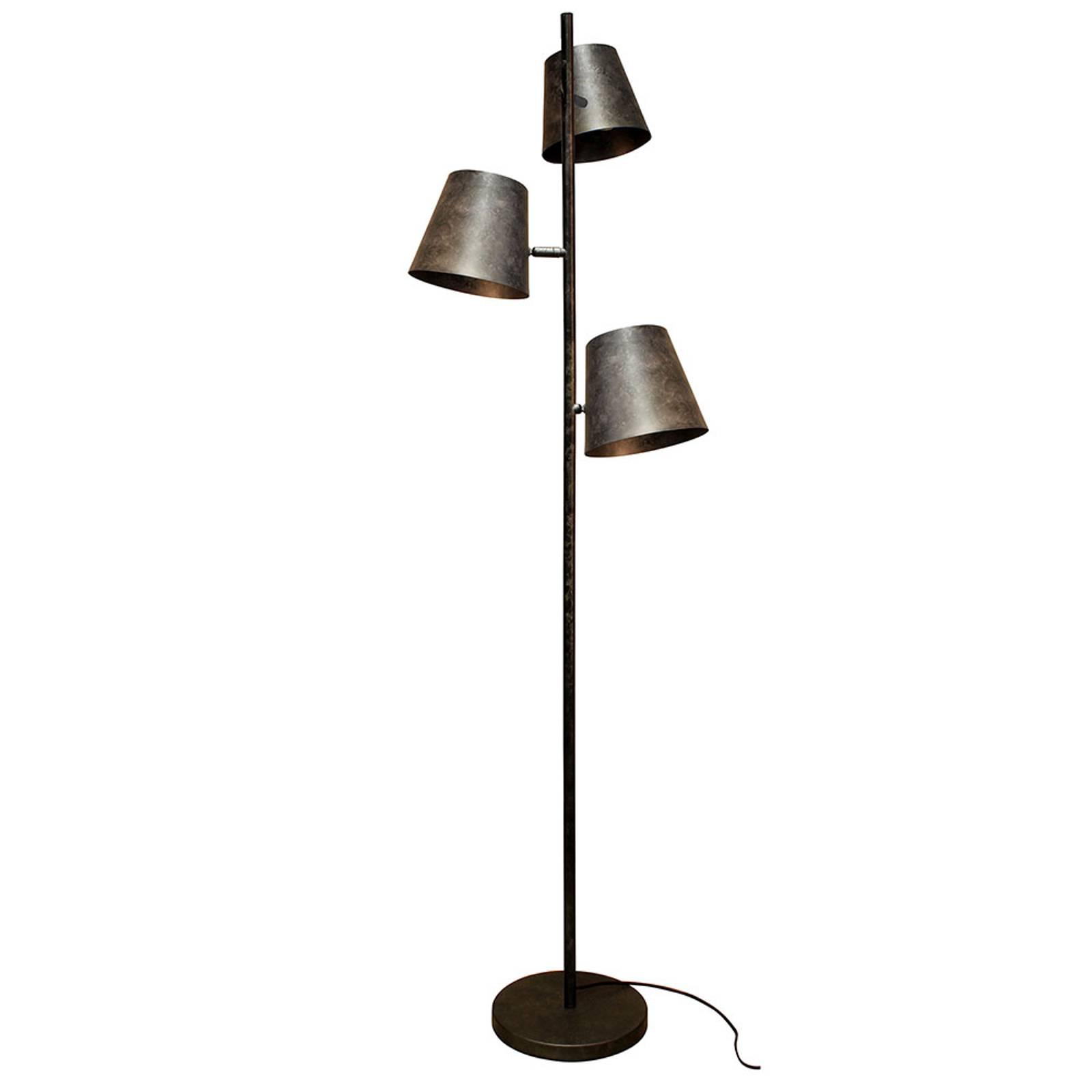 Lampadaire Colt, à 3 lampes, gris givré