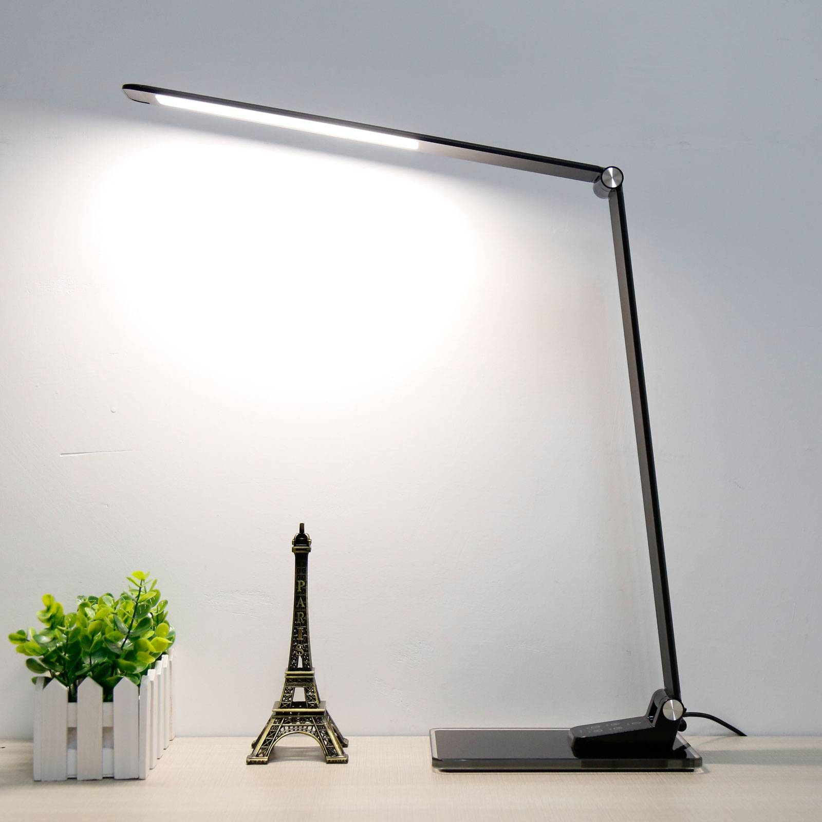 LED bureaulamp Starglass met Glazen sokkel