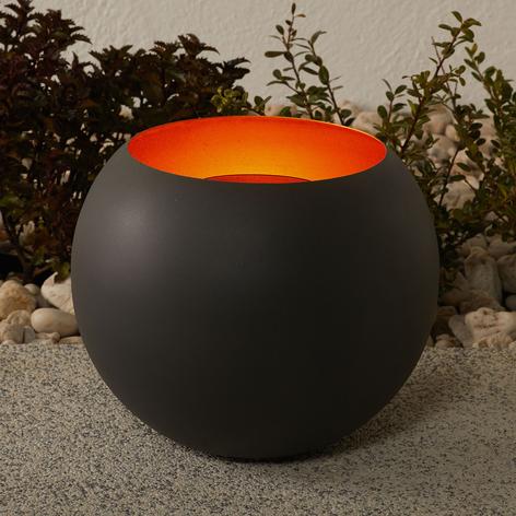 Lampada LED solare Jill a sfera, interno dorato