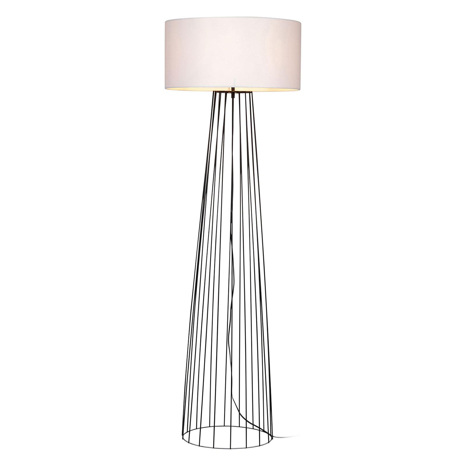 Lámpara de pie Valene con pantalla textil, blanco