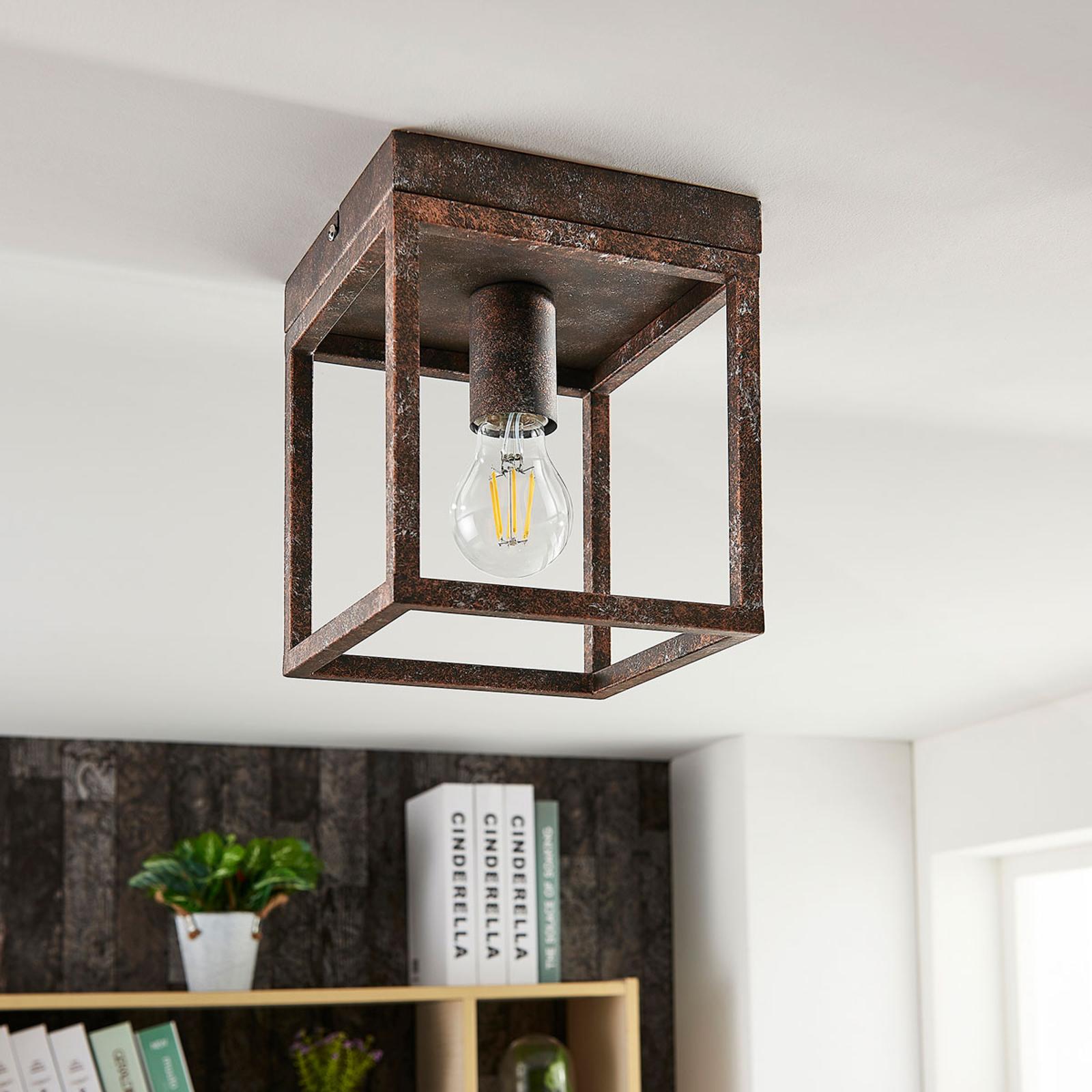 Rustieke plafondlamp Emin met metalen armatuur
