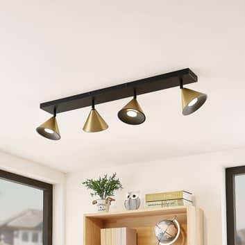 Lucande Kartio loftlampe 4 lysk., drejelig messing
