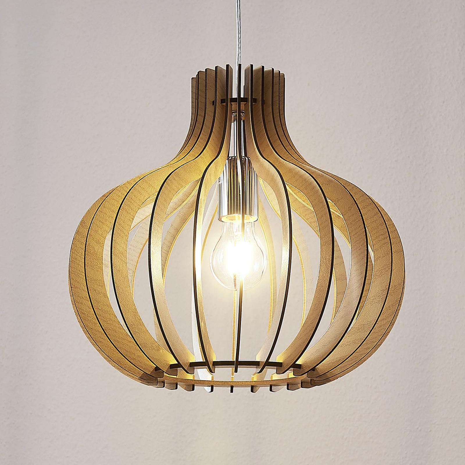 Ballonformet træ-pendellampe Sina, lys