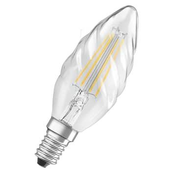 OSRAM flamme LED E14 4W 827 transparente torsadée
