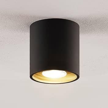 Lindby Parvin aluminiowy downlight, okrągły czarny