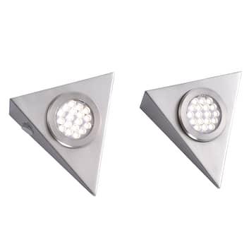 Driehoekige LED onderbouwlamp Helena in set van 2