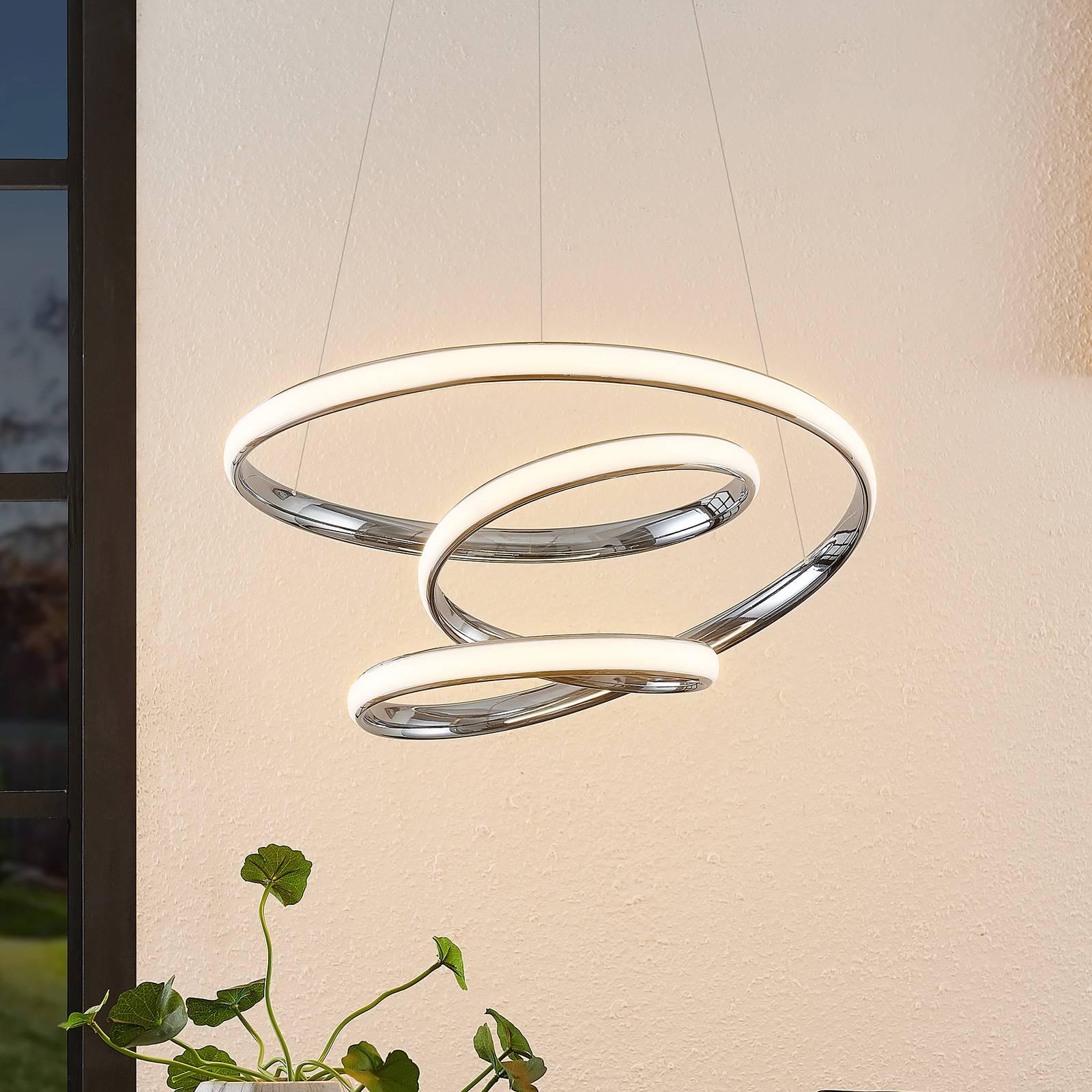 Lucande Sakina LED hanglamp chroom Ø 49cm