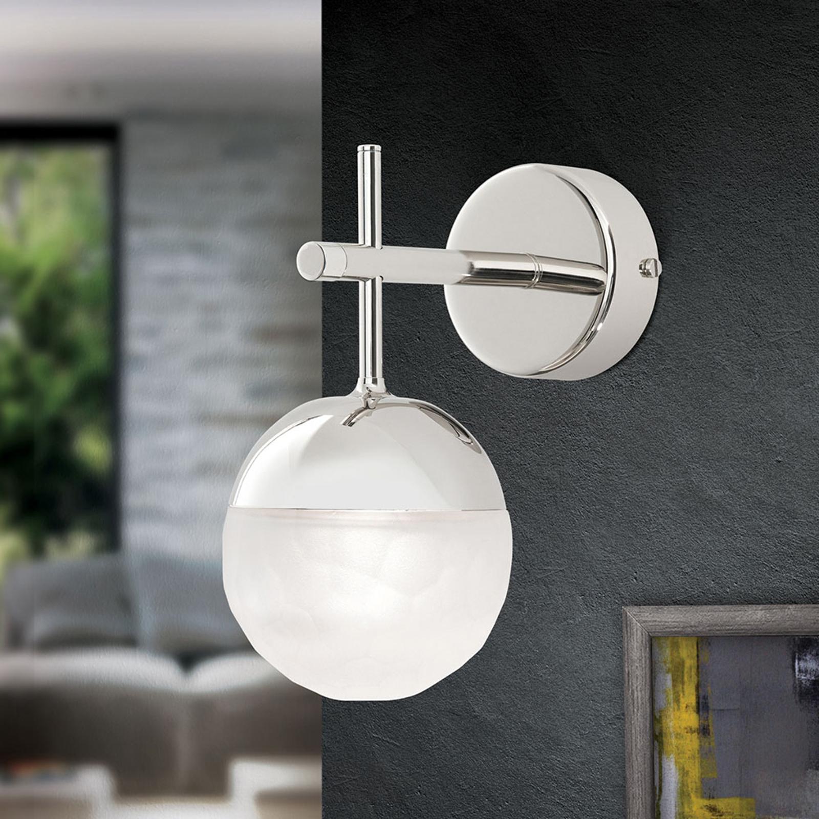 LED-Wandleuchte Ball, einflammig, nickel, abwärts