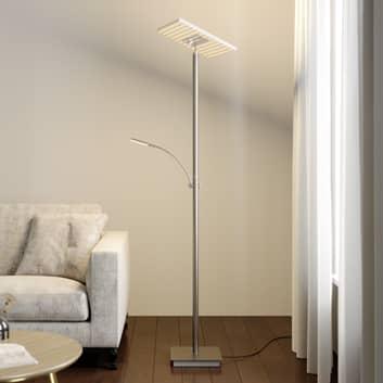 Lucande LED-uplight-golvlampa Joveline, nickel