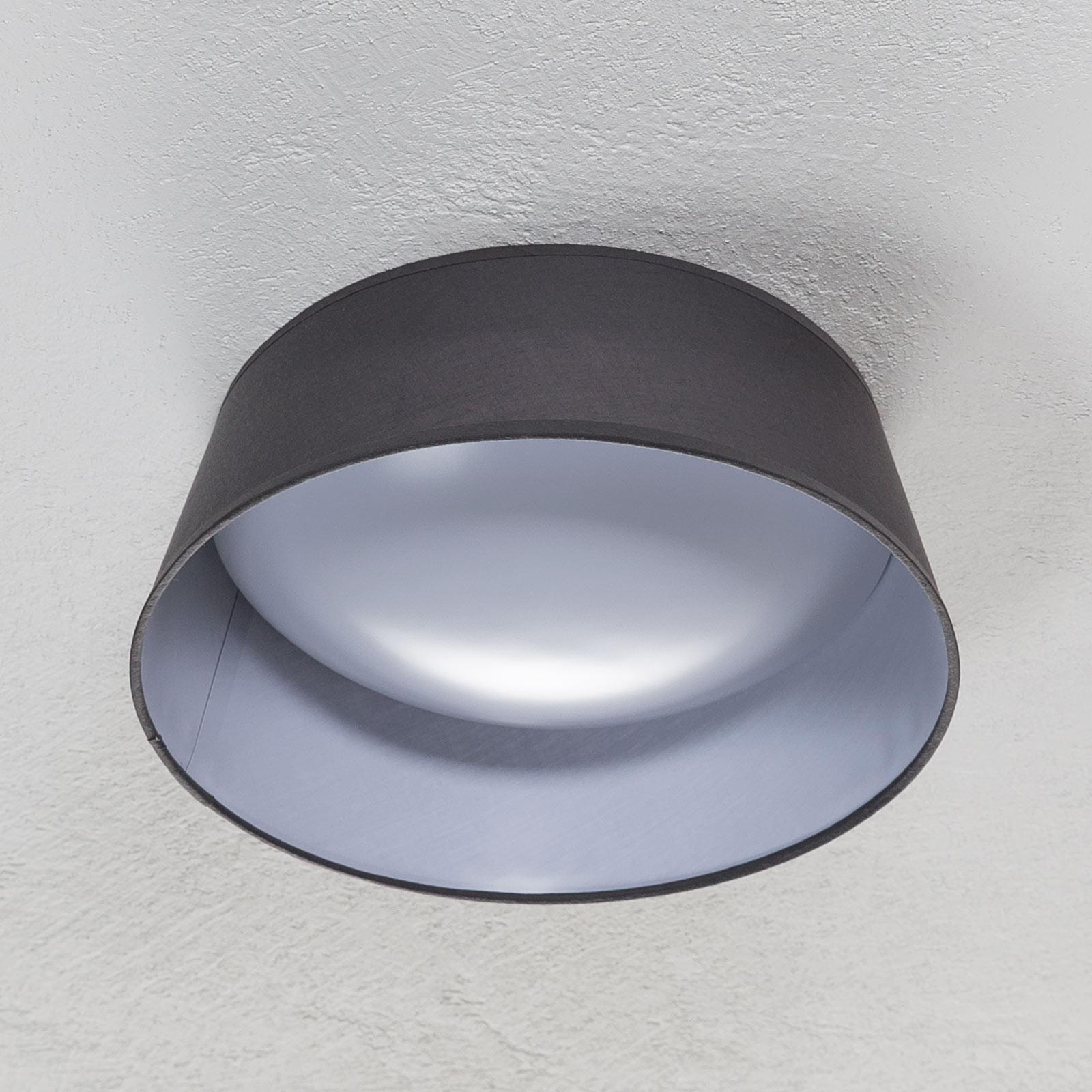 LED-taklampe Ponts med grå tekstilskjerm