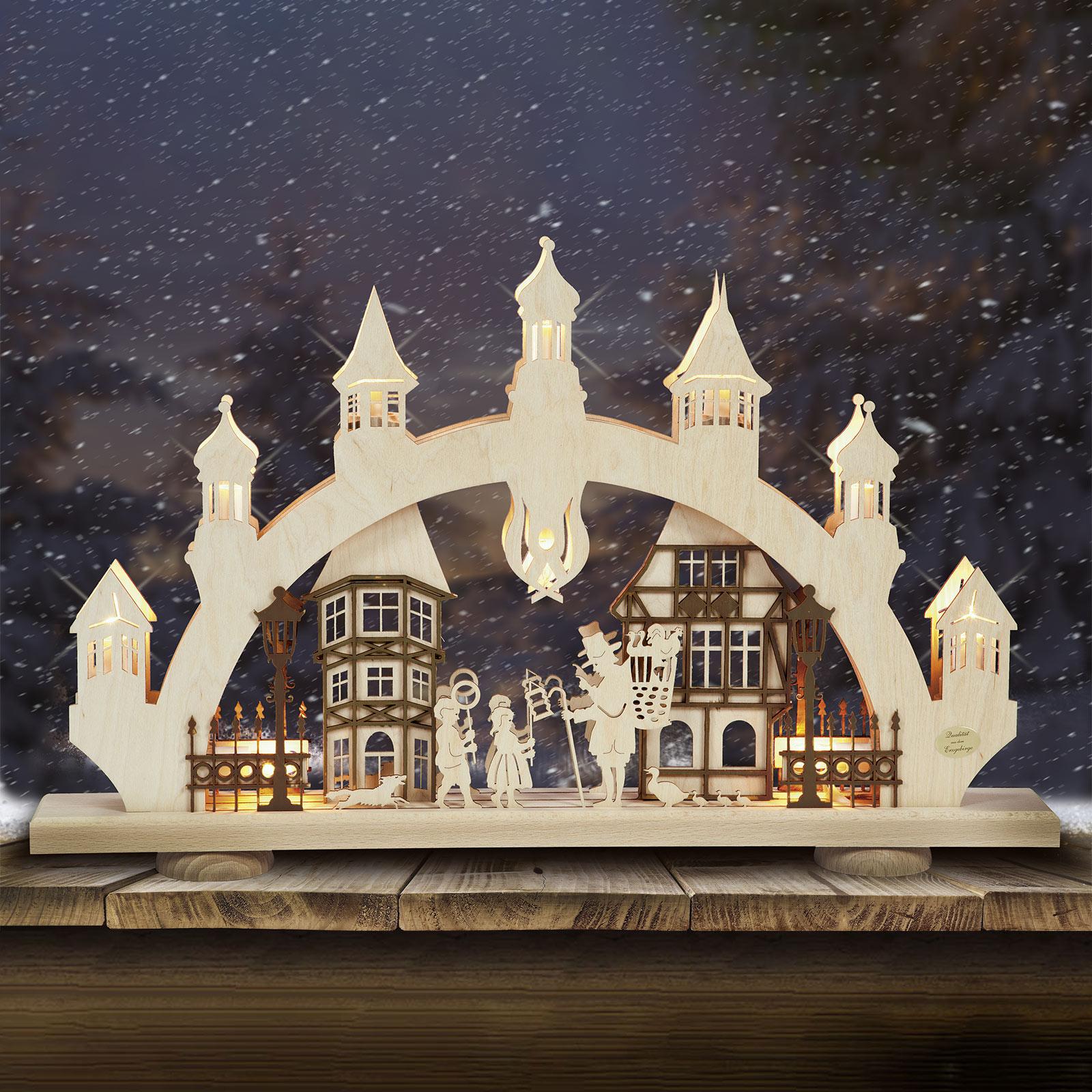 Gammel By 3D adventsstage, 10 lyskilder