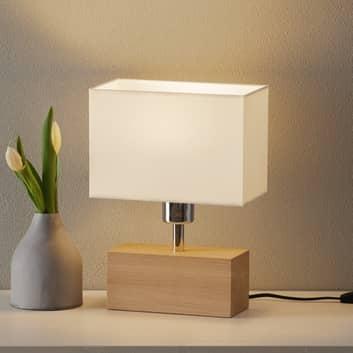 Lámpara de mesa Theo, pantalla blanca, pie roble