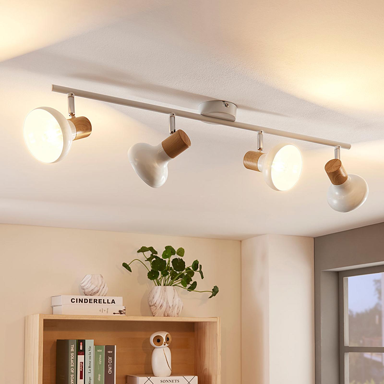 Plafonnier LED allongé Fridolin à 4lampes