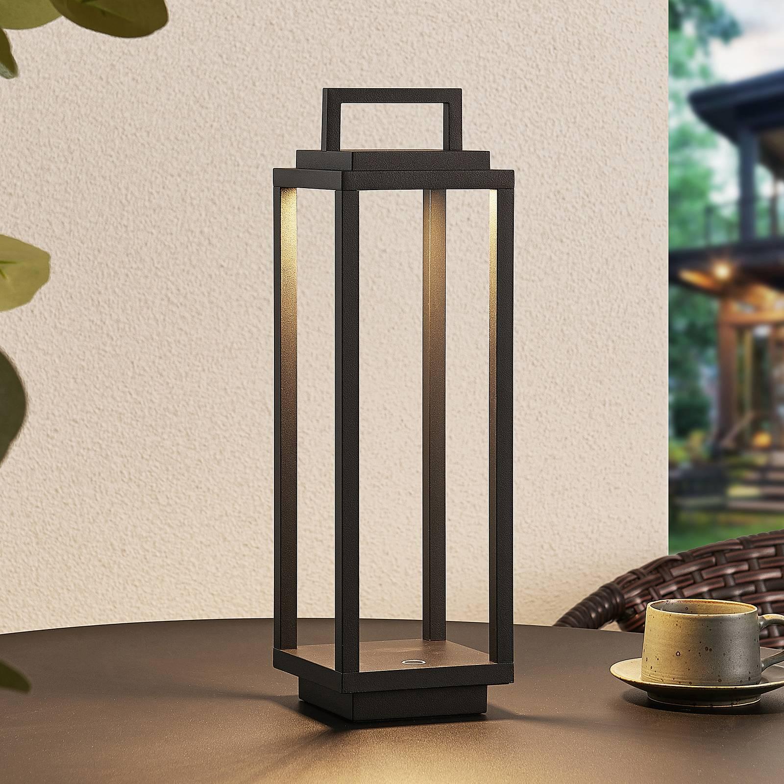 Lucande Mirina LED buitenlantaarn, USB, zwart