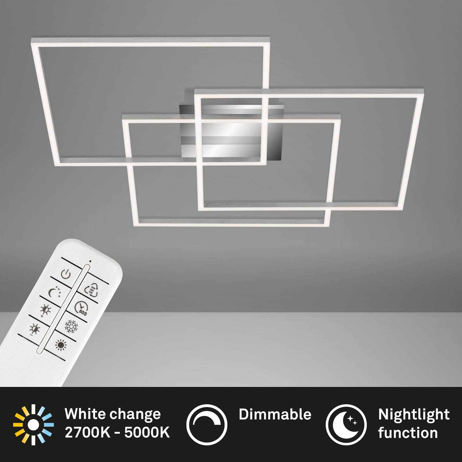 Lampa sufitowa LED Frame CCT, chromowa 70x70cm