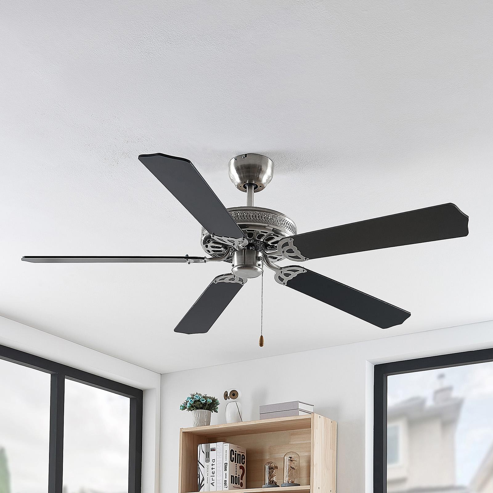 Lindby Rohne ventilateur de plafond, nickel mat