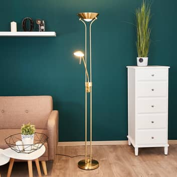 Lampa stojąca LED Josefin. l. do czytania, mosiądz