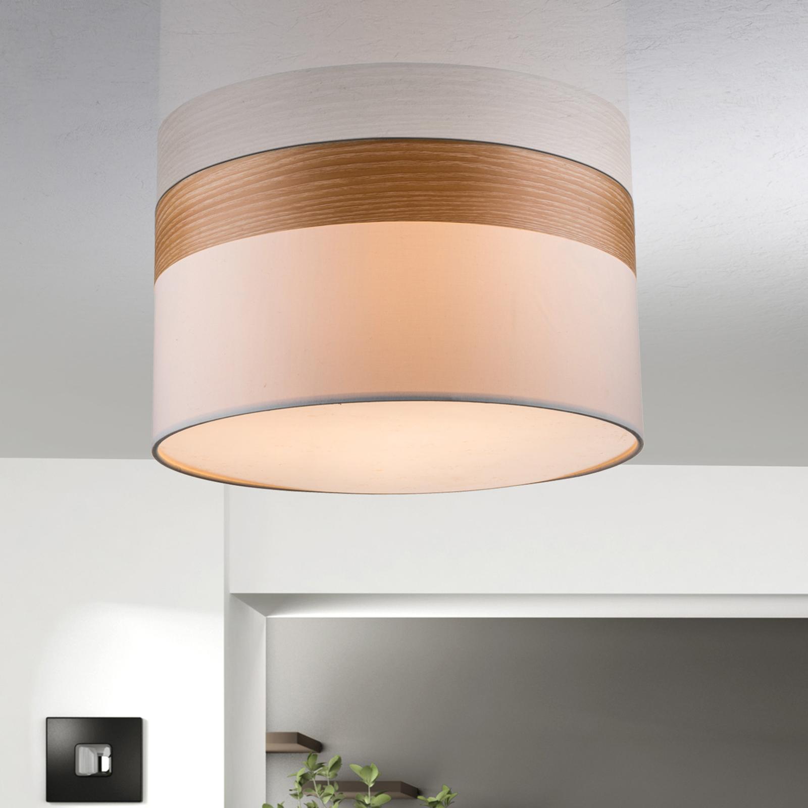 Semi-flush ceiling lamp Libba, cream-wood_4014840_1