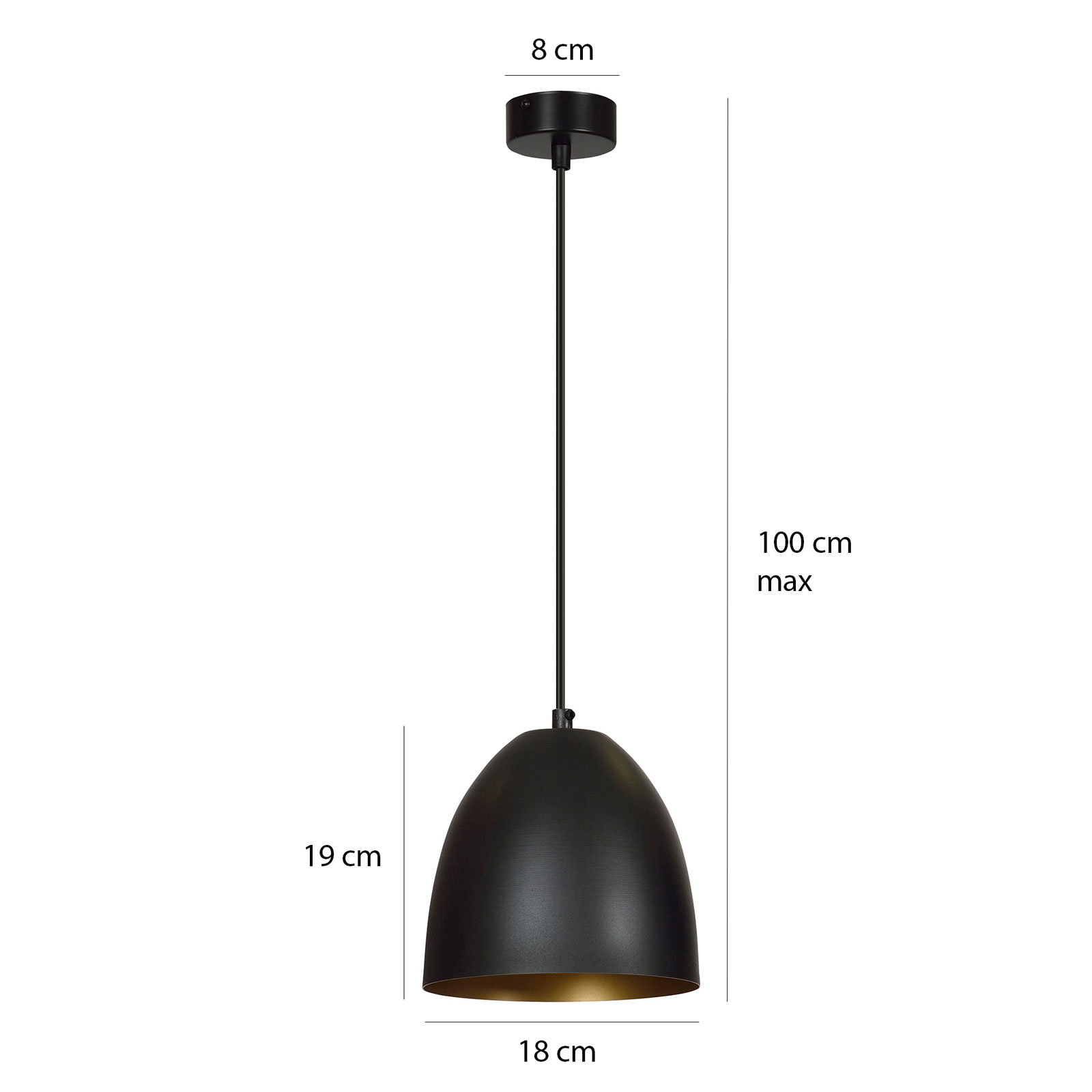 Lampa wisząca Lenox, 1-punktowa, czarna/złota
