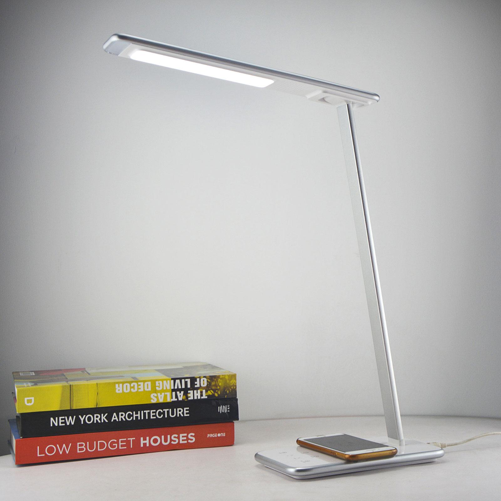 LED-Schreibtischleuchte Orbit mit Induktion silber