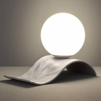 Lampada da tavolo di vetro Lara, grigio anticato