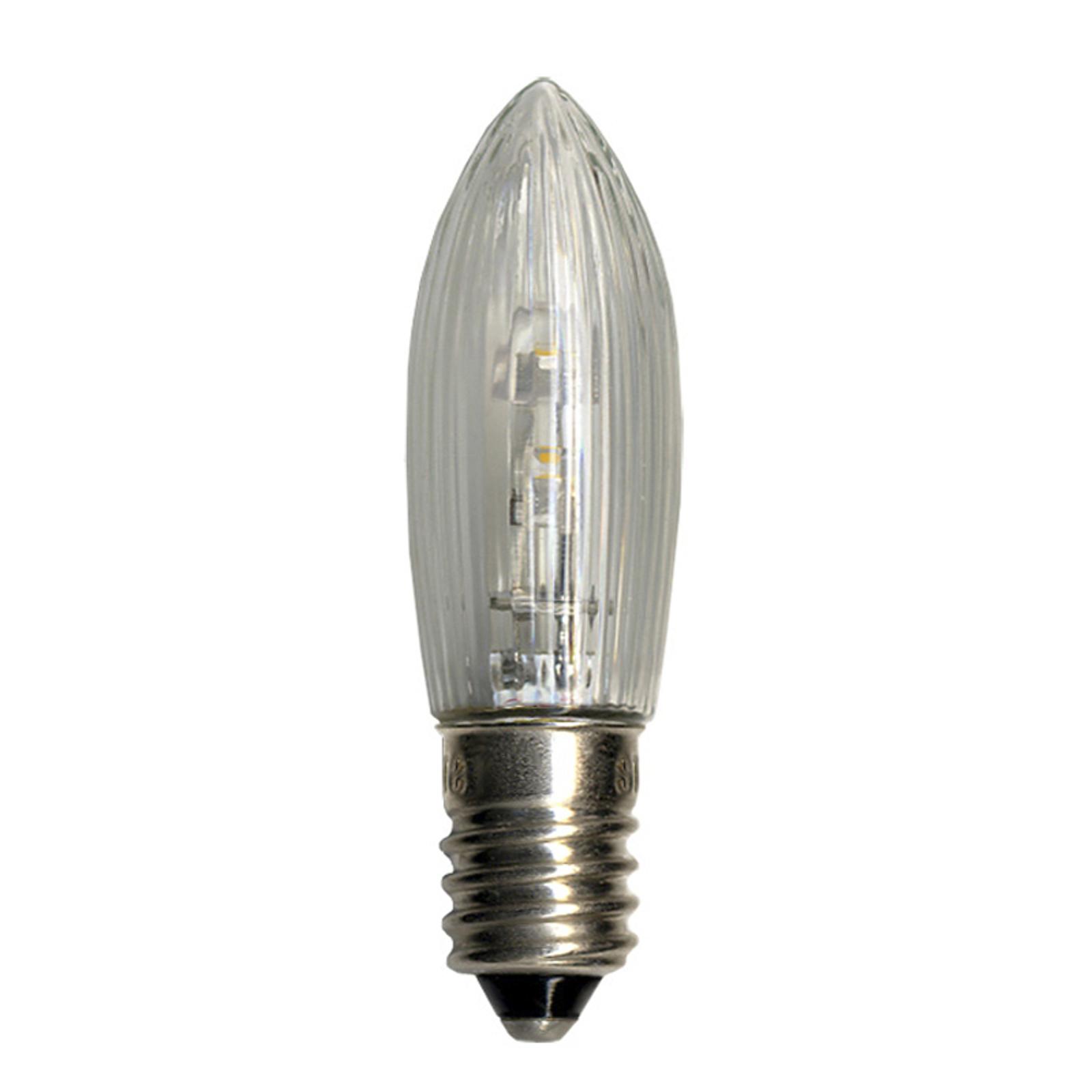 E10 0,2W 10-55 LED reservepære 3-pk stearinlysform