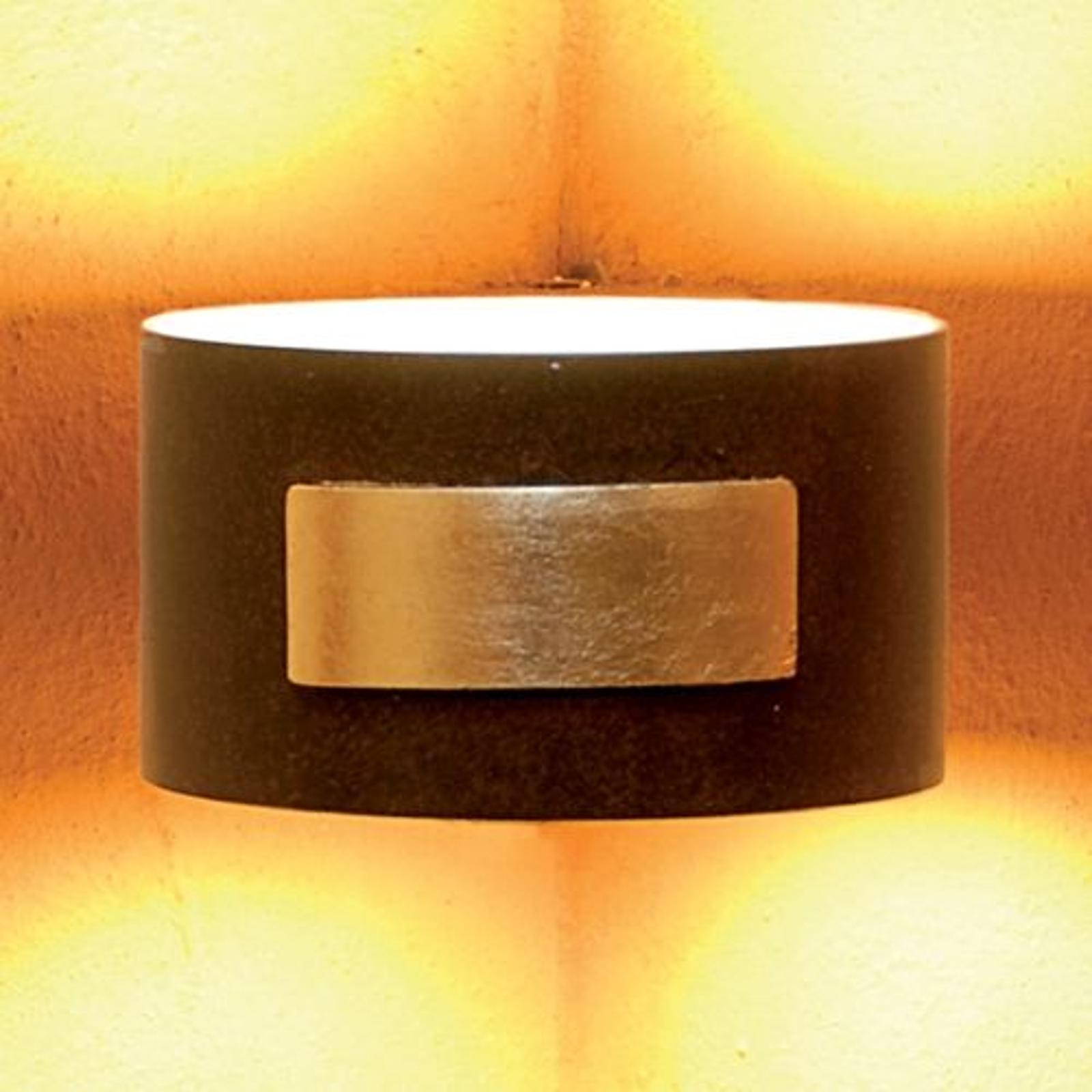 Vägglampa SMALL för montering i hörn rostbrun/guld
