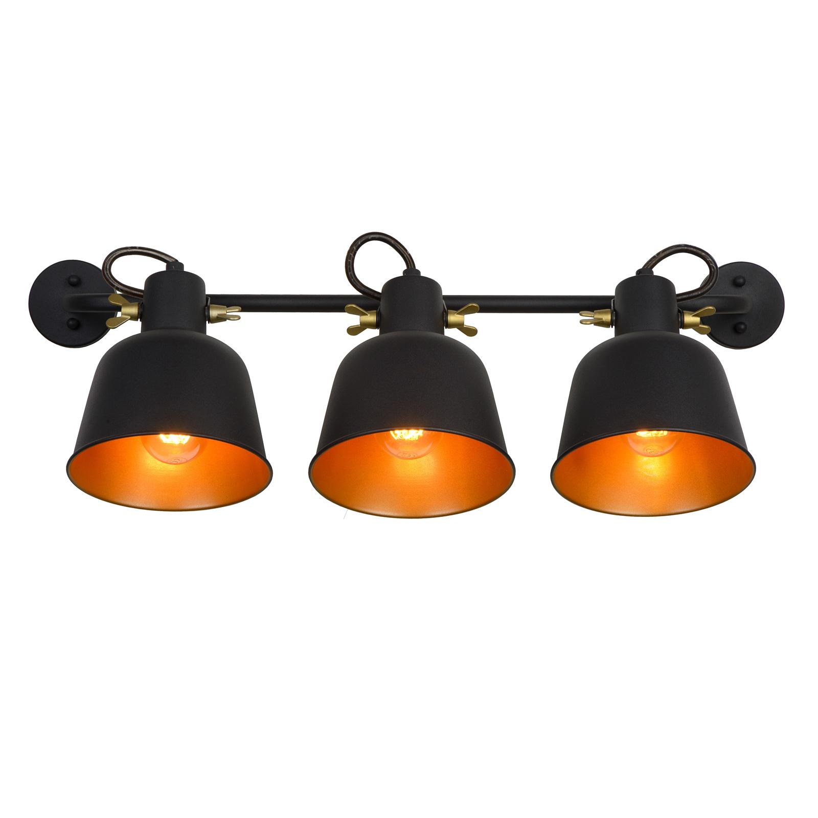 Applique Pia, noire à 3 lampes