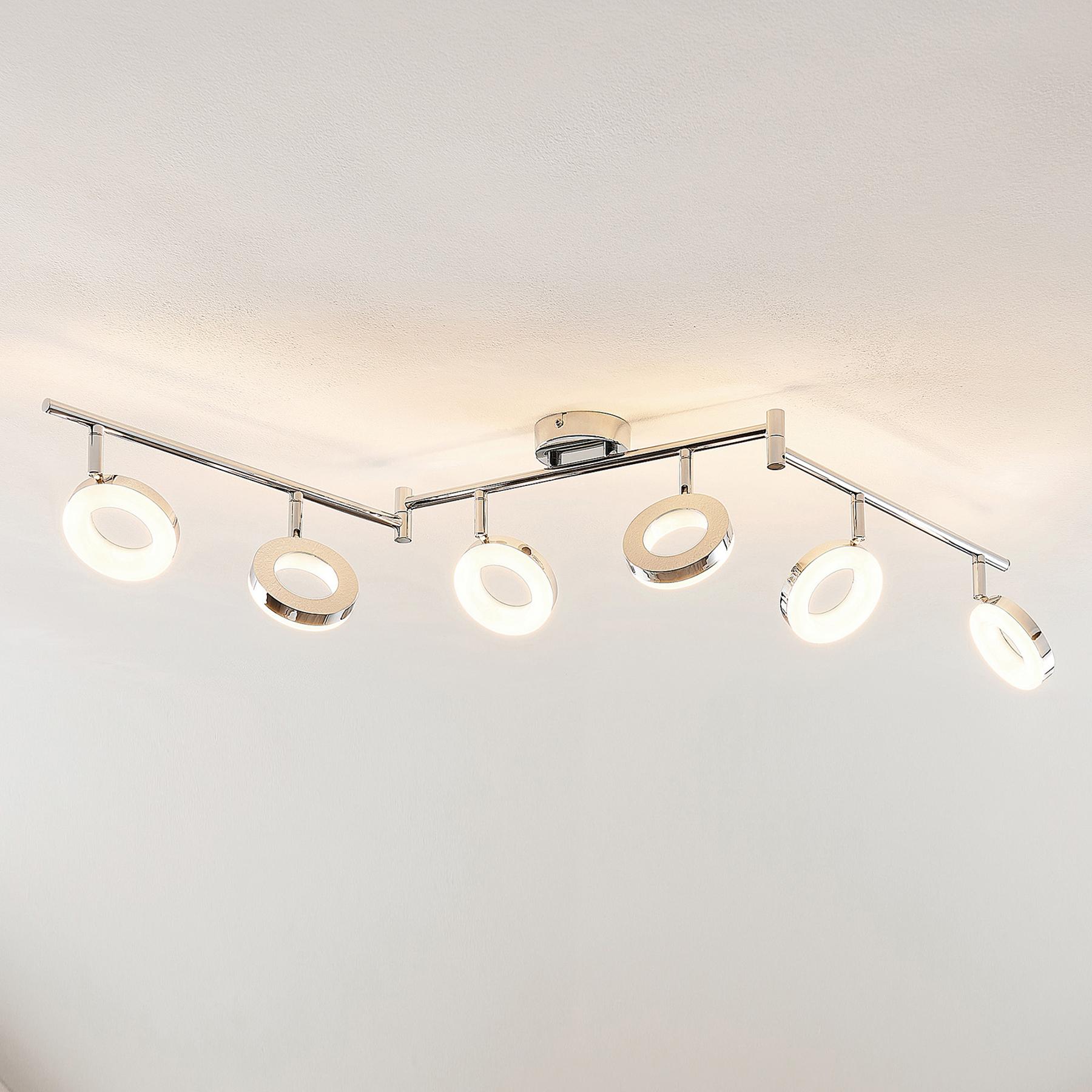 ELC Tioklia LED plafondlamp, chroom, 6-lamps