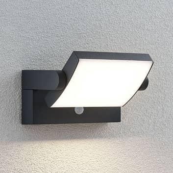 LED-utomhusvägglampa Sherin, vridbar med sensor
