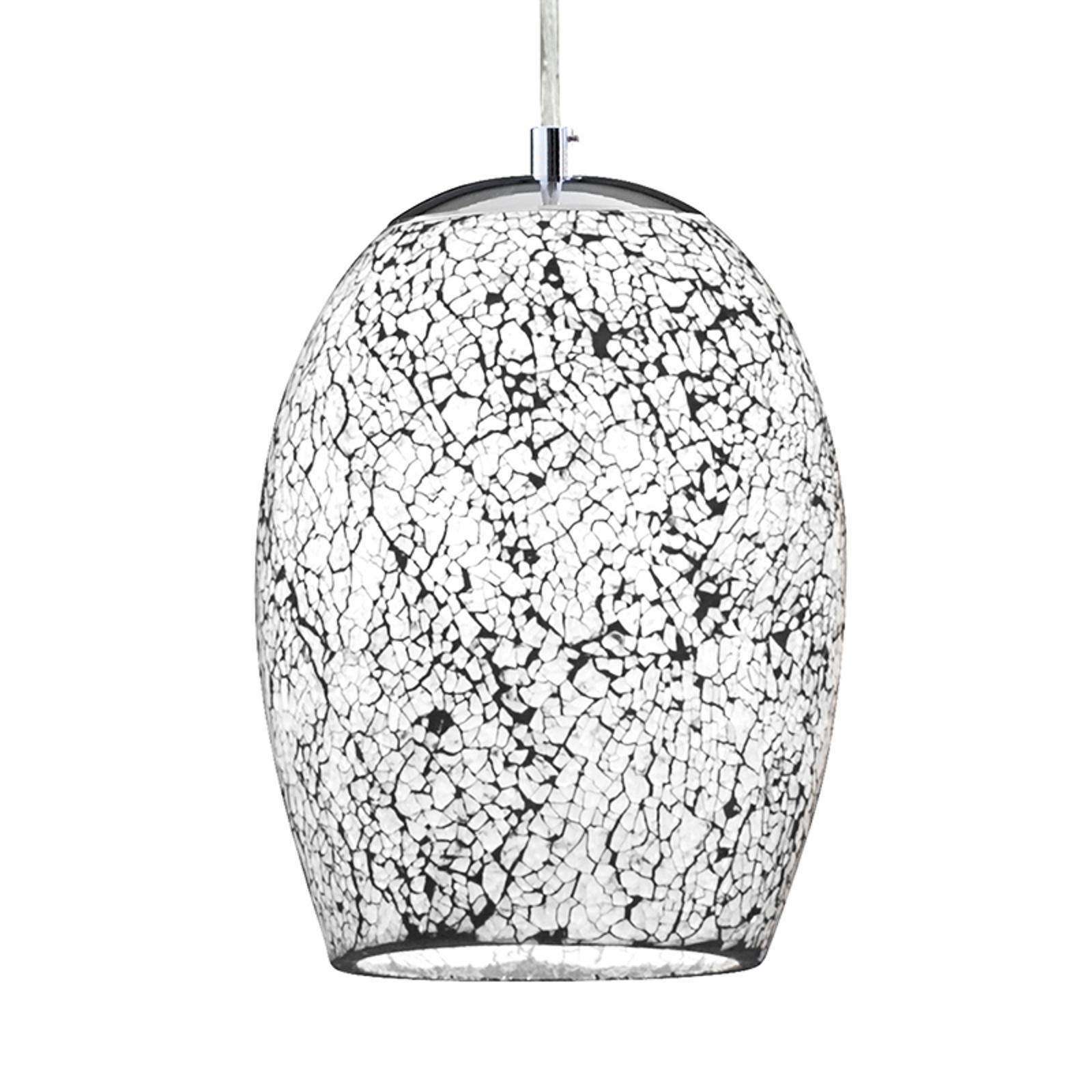 Chromowana, biała lampa wisząca Crackle