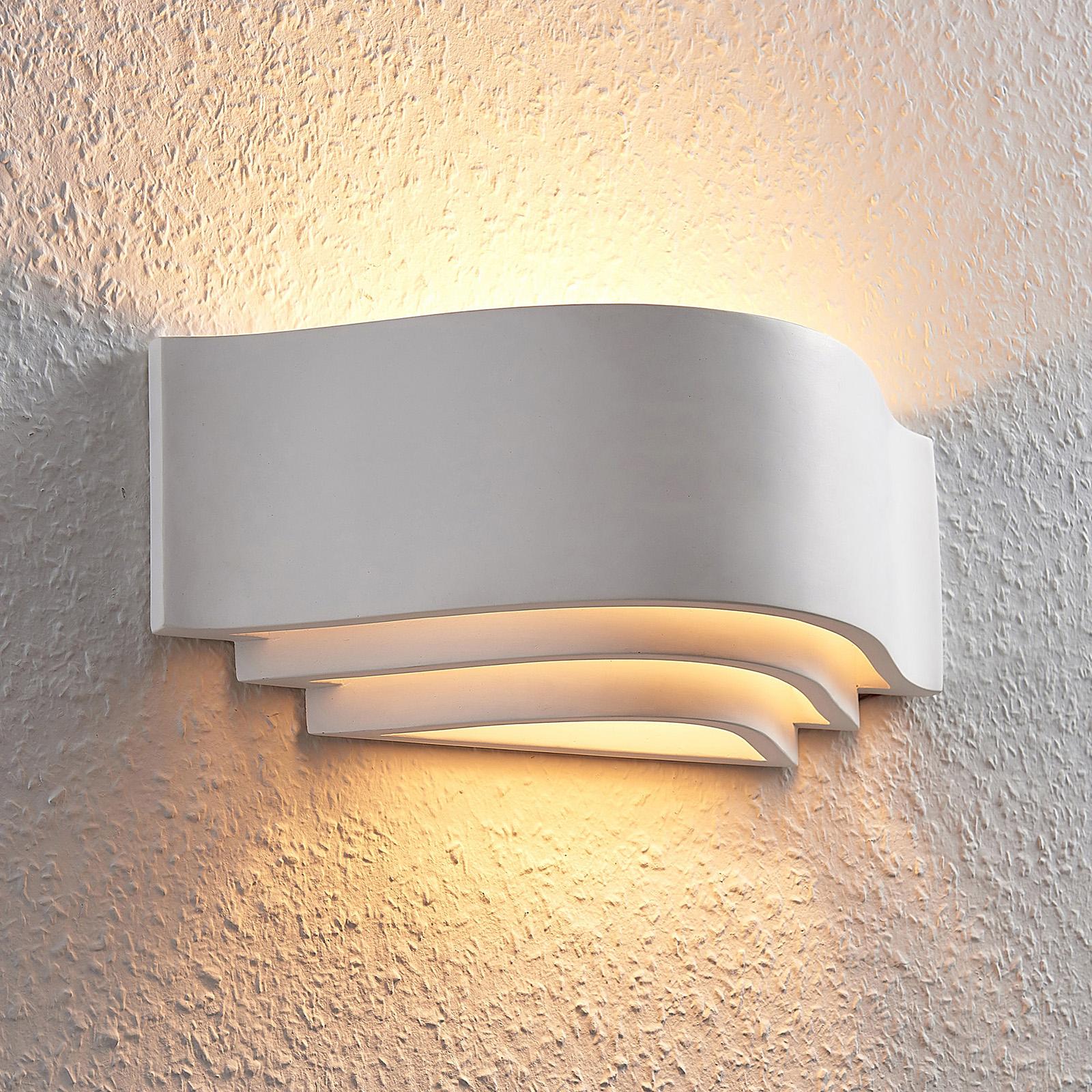 Gips wandlamp Amran, wit drievoudig