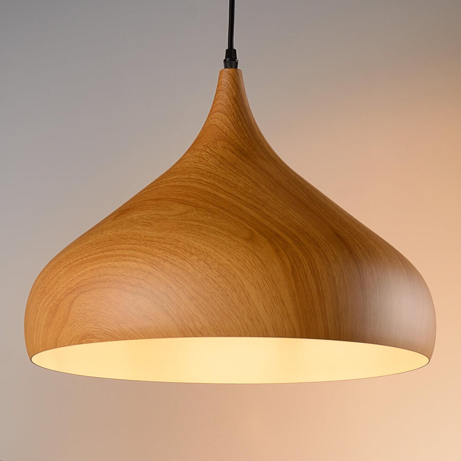 Houtkleurige hanglamp Woody met brede kap