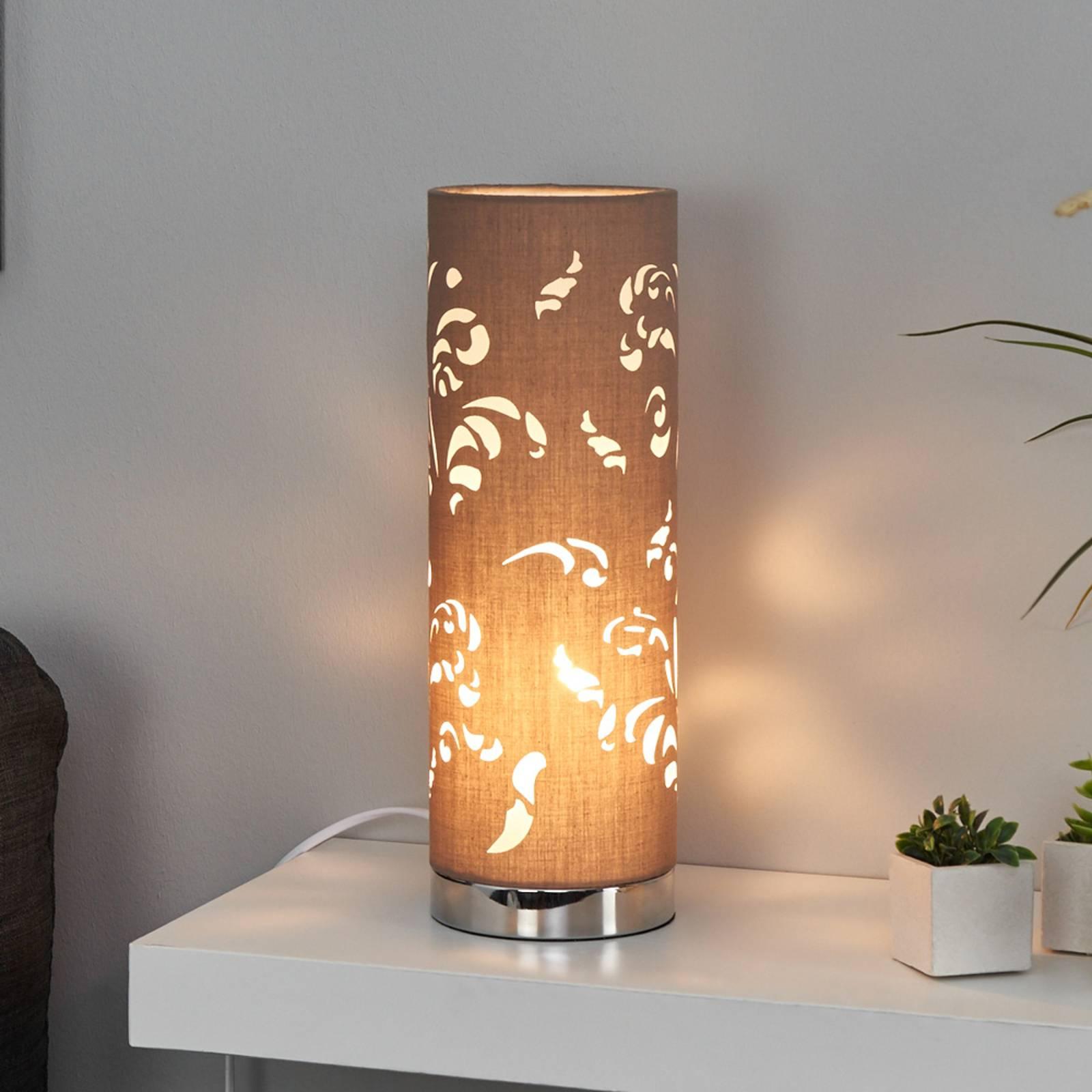 Betoverende tafellamp Flora cappuccino m. decor