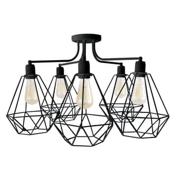 Plafondlamp Karo 5-lamps zwart