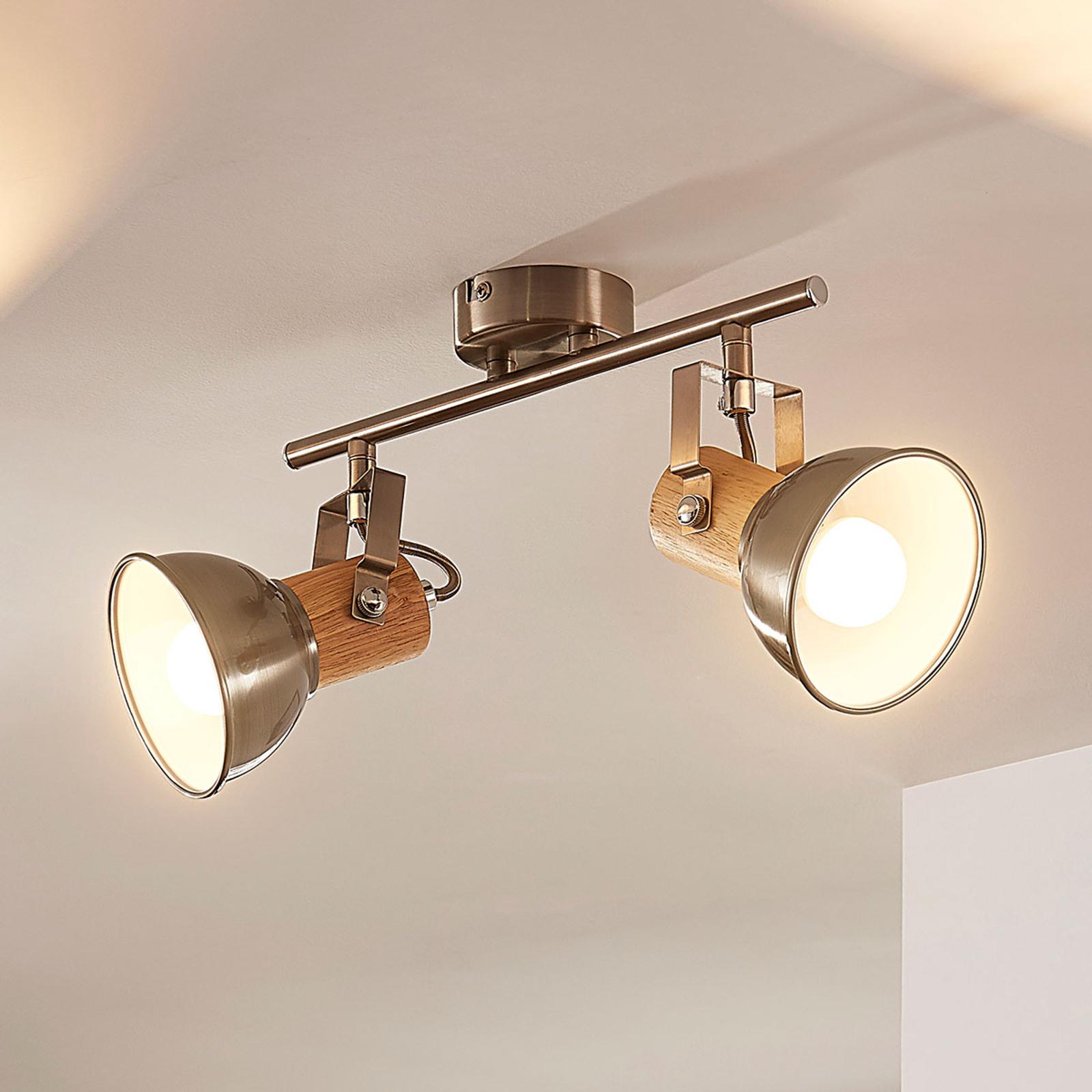 LED-taklampe Dennis med dekor i tre, 2 lyskilder