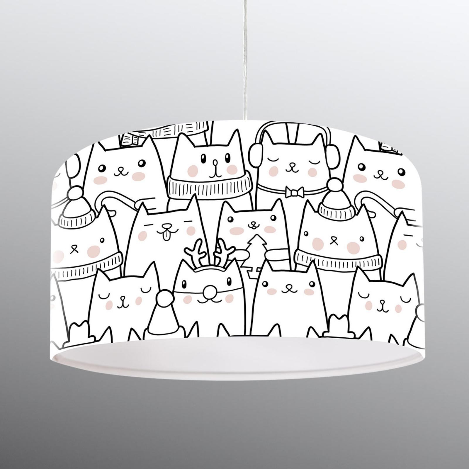 Mit Katzenmotiv bedruckte Hängeleuchte Cats