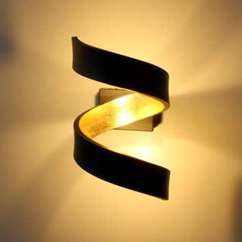 LED-Wandleuchte Helix, schwarz-gold
