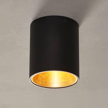 LED stropní svítidlo Polasso, kulaté, černá-zlatá
