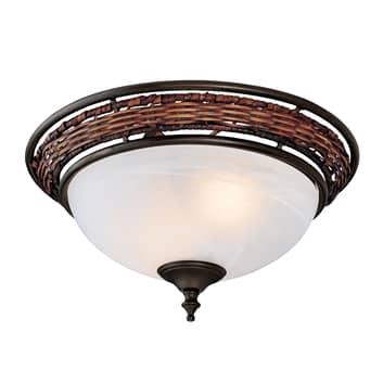 Hunter Wicker Bowl lámpara adosada para ventilador