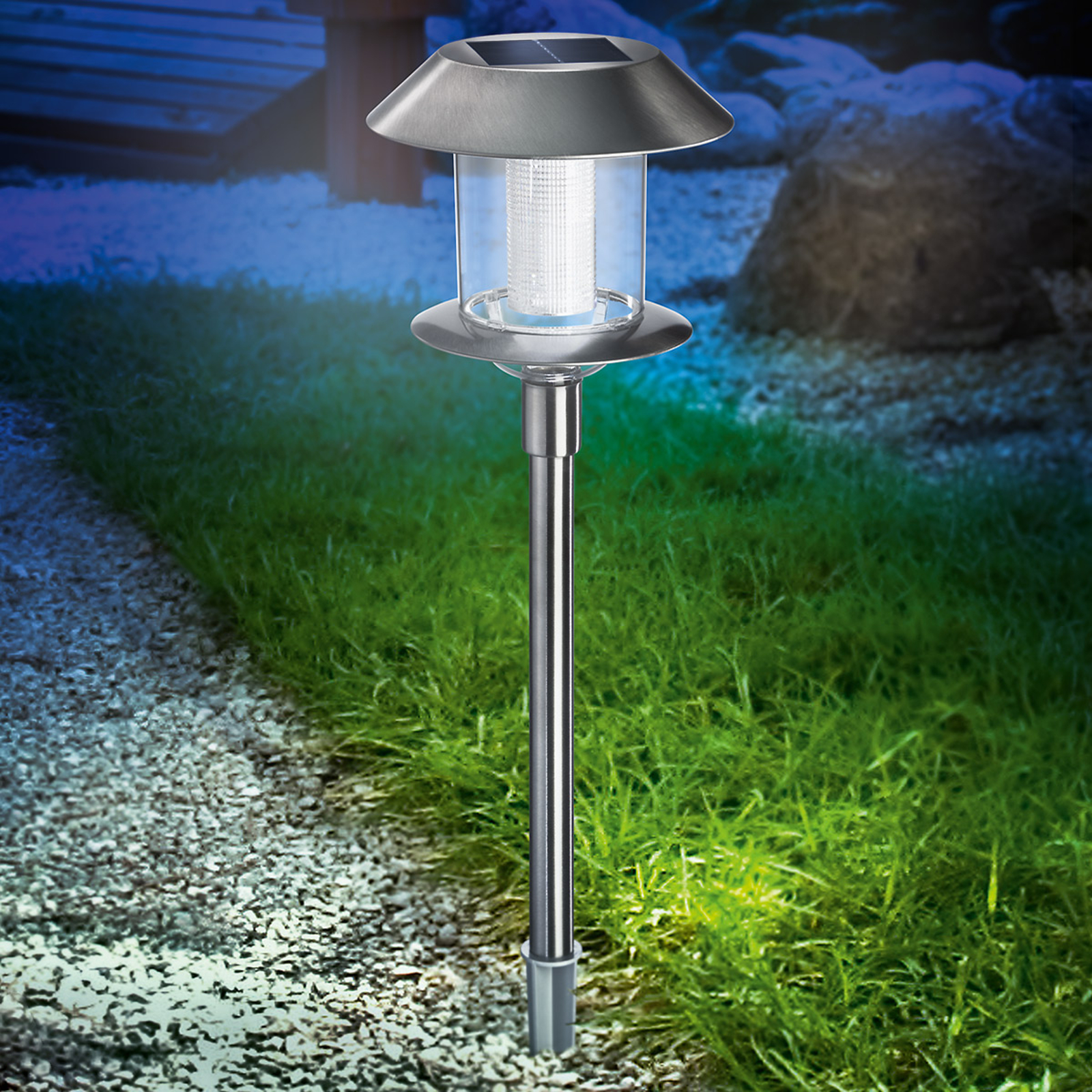 Lámpara LED de acero inoxidable Swing Duo Solar