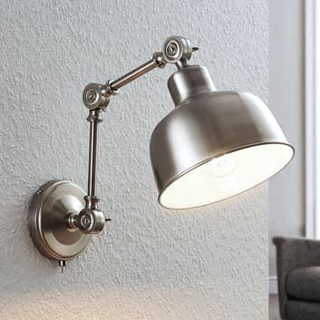 Lámpara de pared Rosita, níquel satinado regulable
