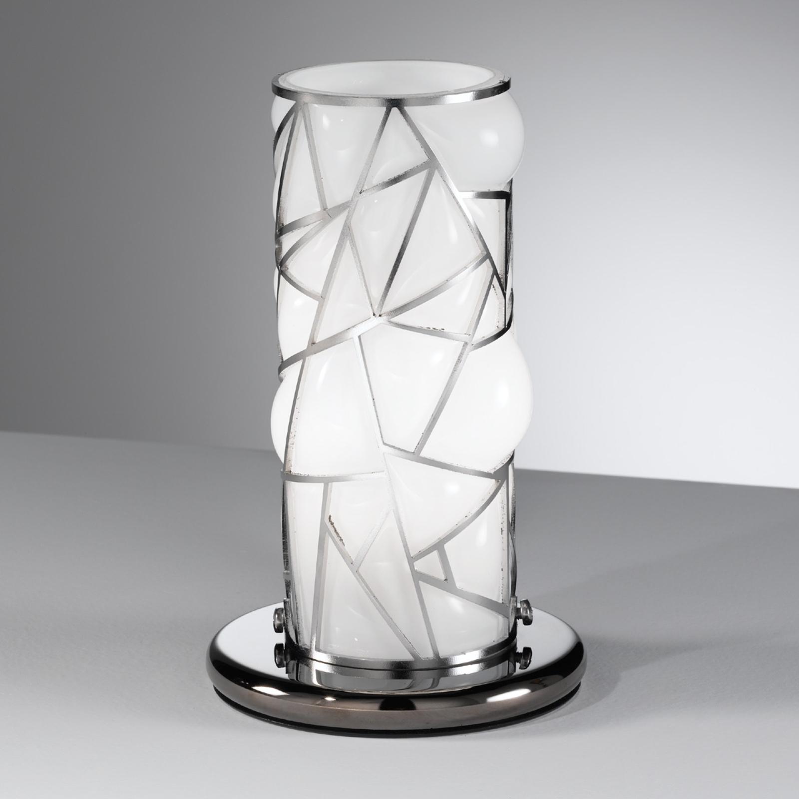 Tafellamp Orione met rvs-elementen, wit