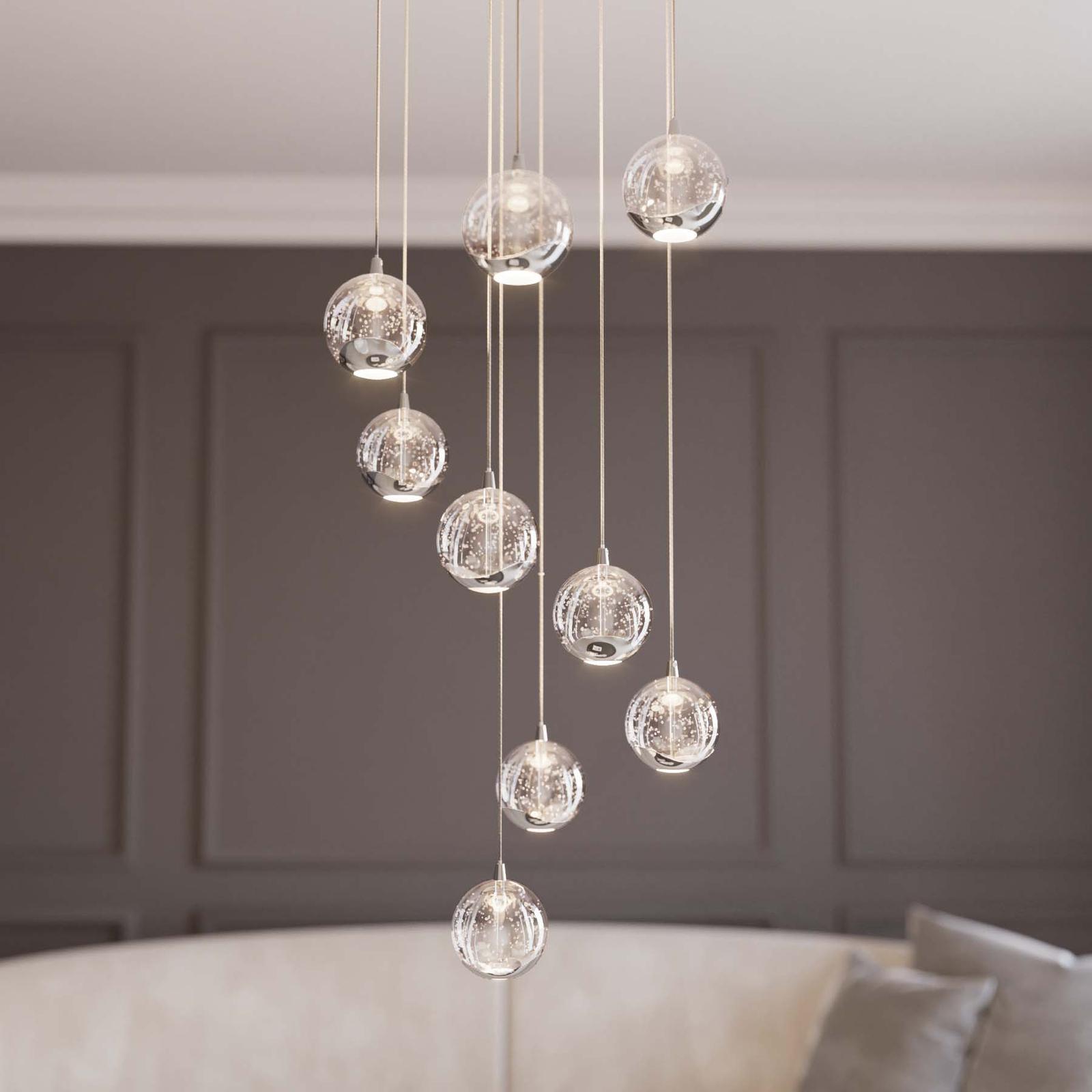 Lucande Hayley LED-pendellampe, 9 lyskilder, krom