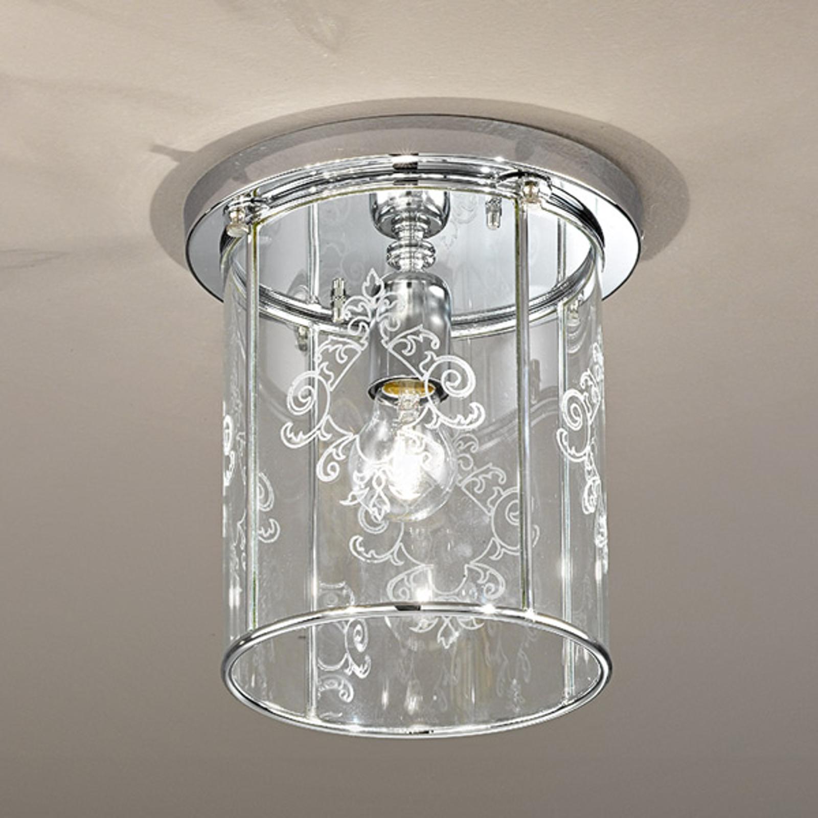 Greta plafondlamp met gedecoreerd kristalglas