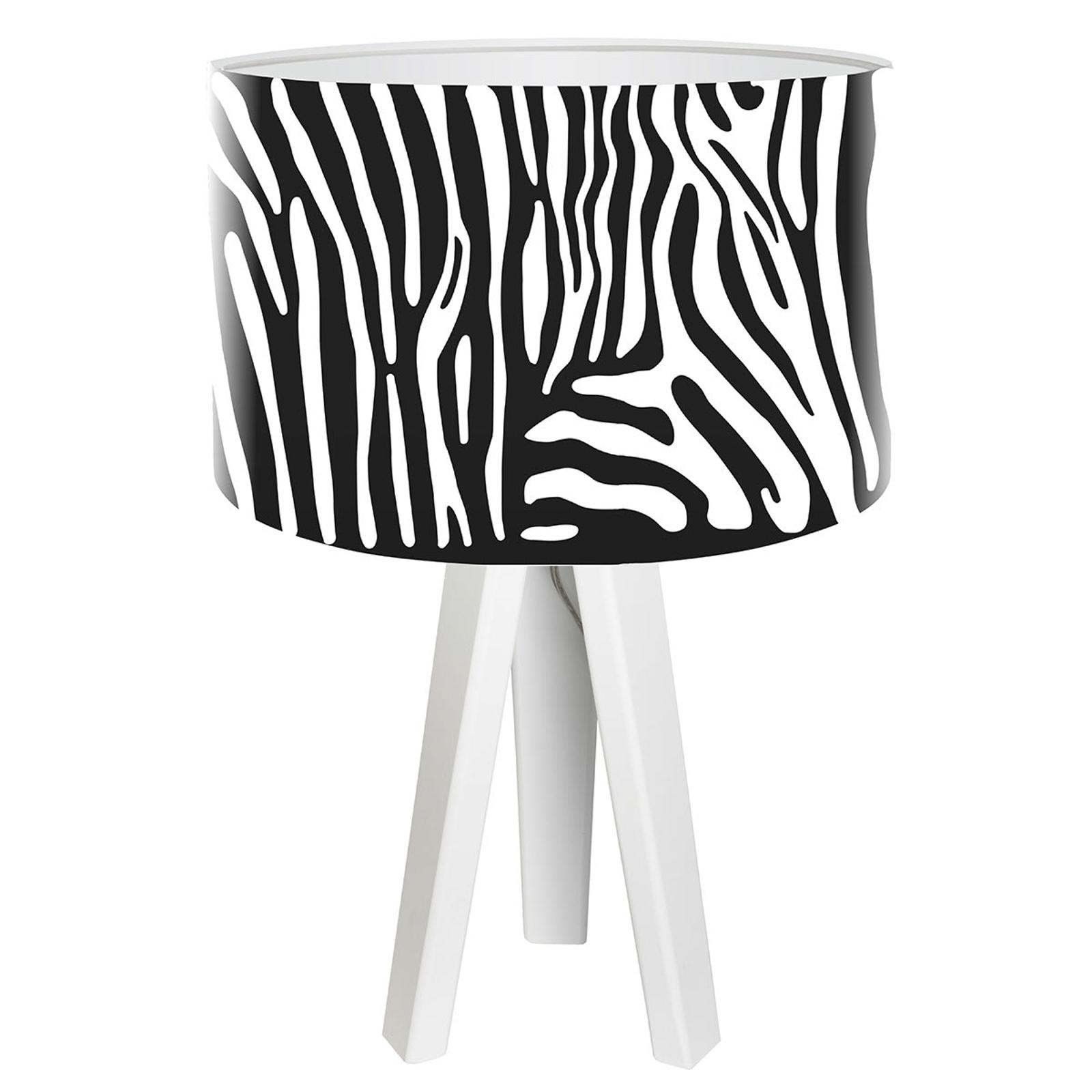 Trójnożna lampa stołowa Zola w stylu zebry
